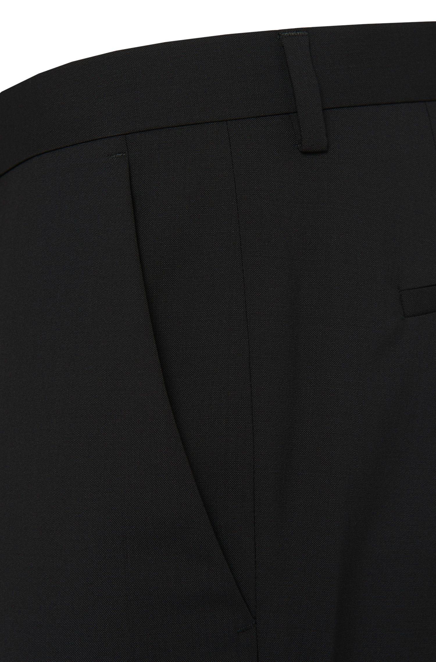 'Shout' | Regular Fit, Stretch Virgin Wool Dress Pants , Black