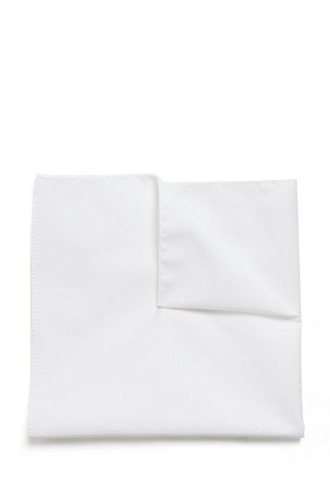 Jacquard pocket square in pure cotton, White