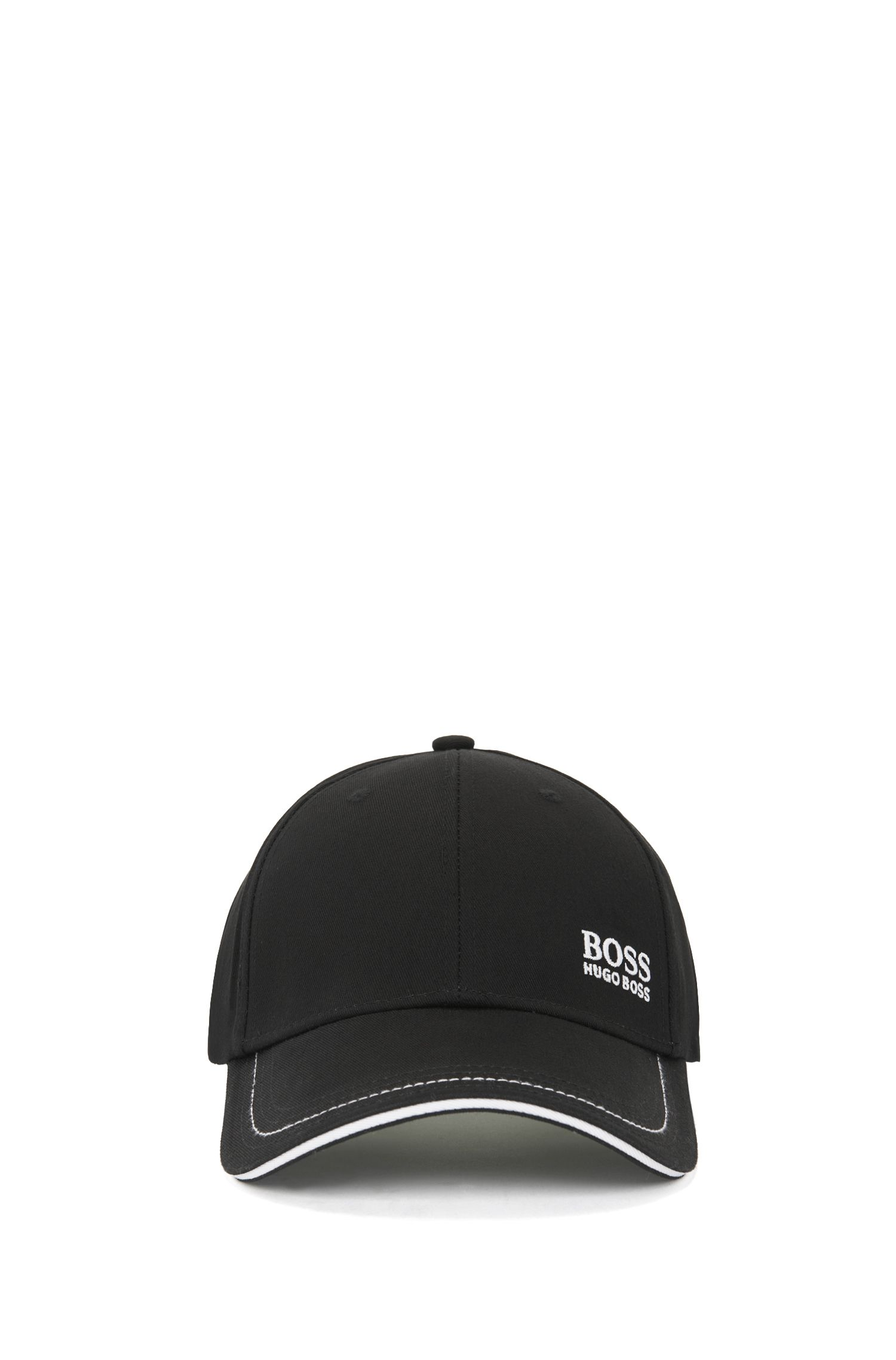 Baseball cap in cotton twill with embroidered logo , Black