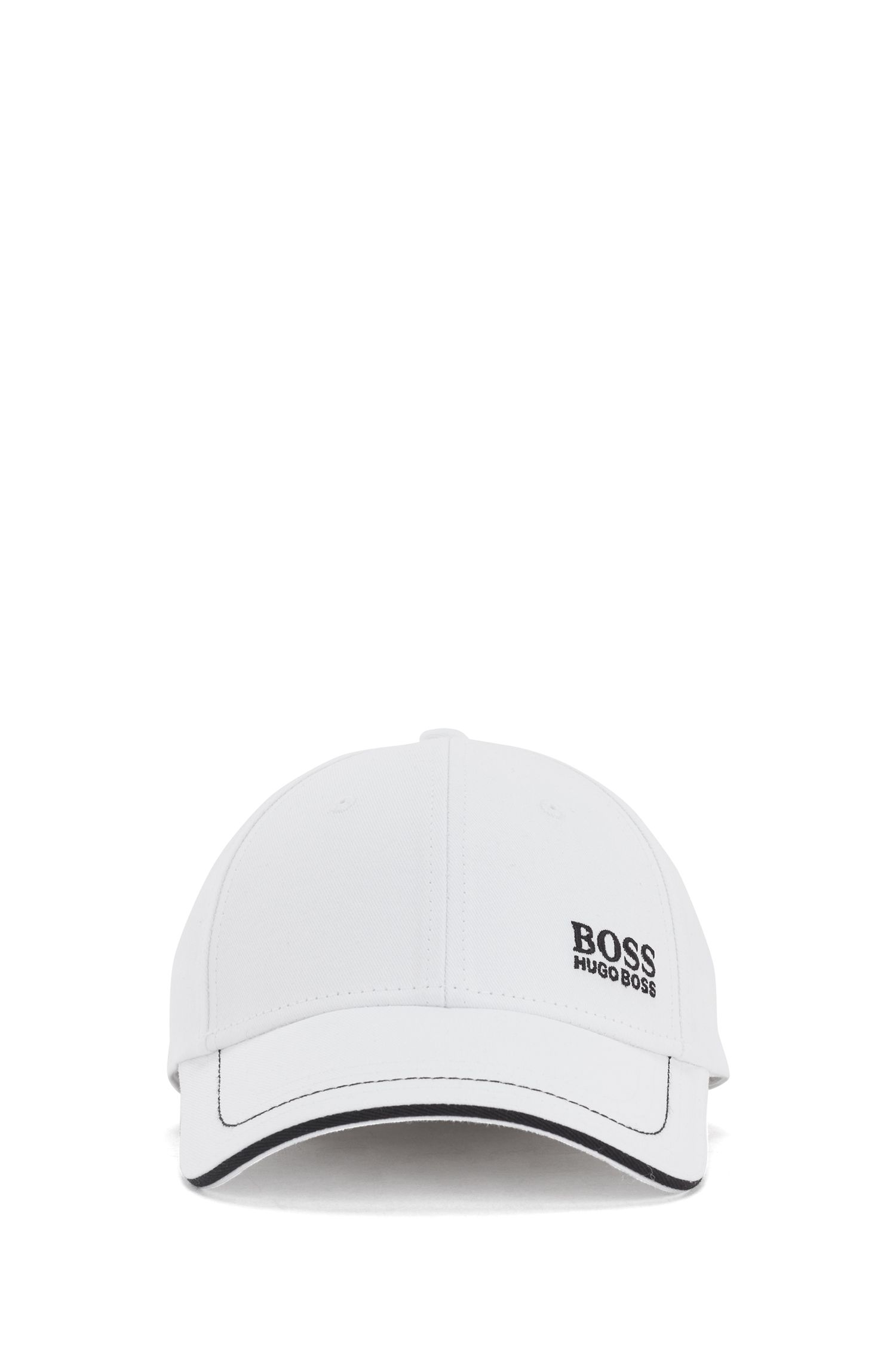Baseball cap in cotton twill with embroidered logo , White