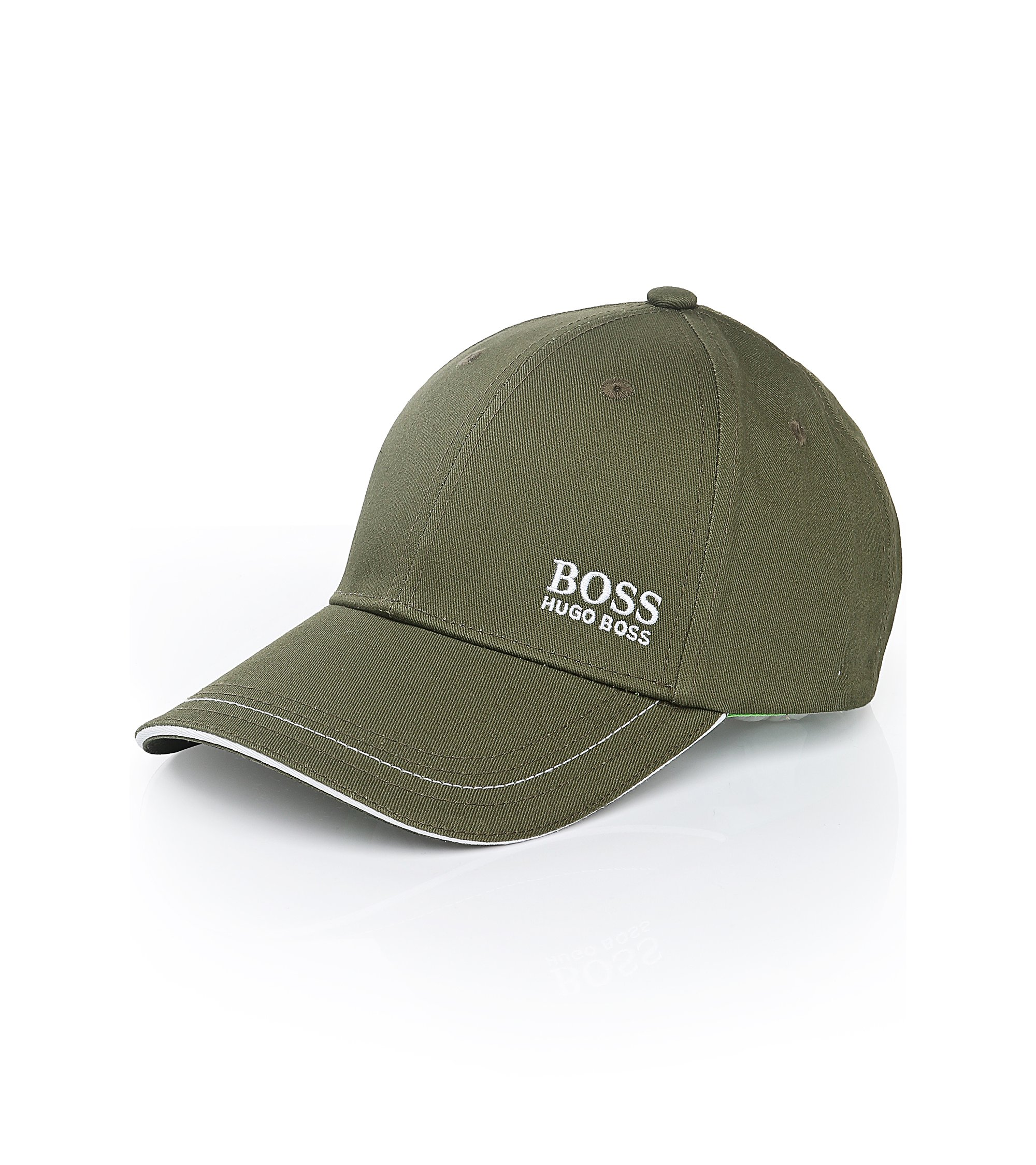 Baseball cap in cotton twill with embroidered logo , Dark Green