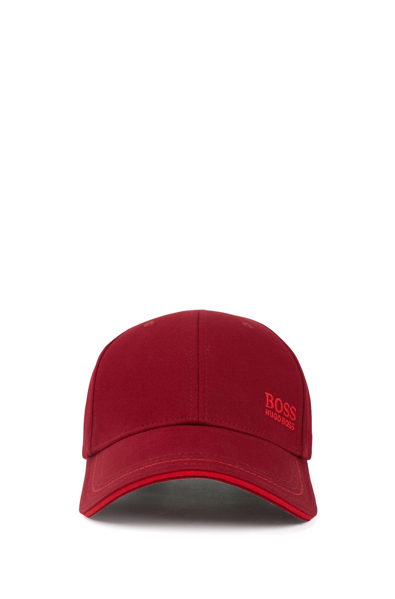 Baseball cap in cotton twill with embroidered logo , Dark Red