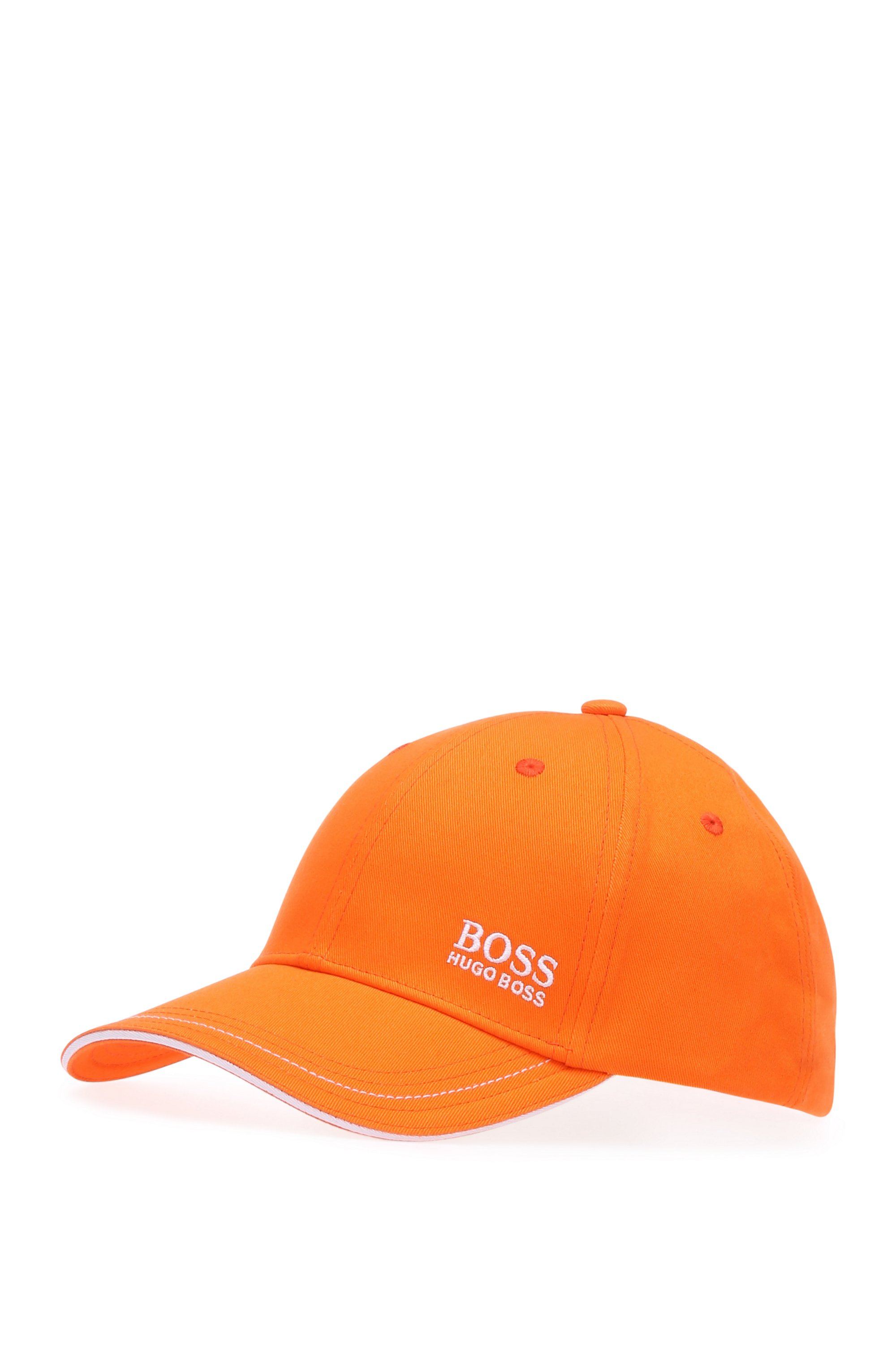 Baseball cap in cotton twill with embroidered logo , Open Orange
