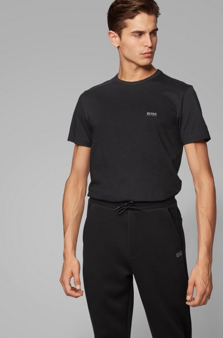 Regular-fit T-shirt with contrast detail, Black