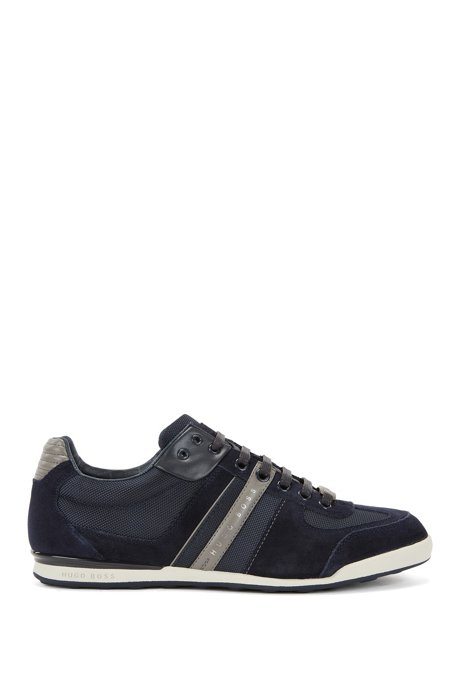 Leather and Mesh Sneaker | Akeen, Open Blue