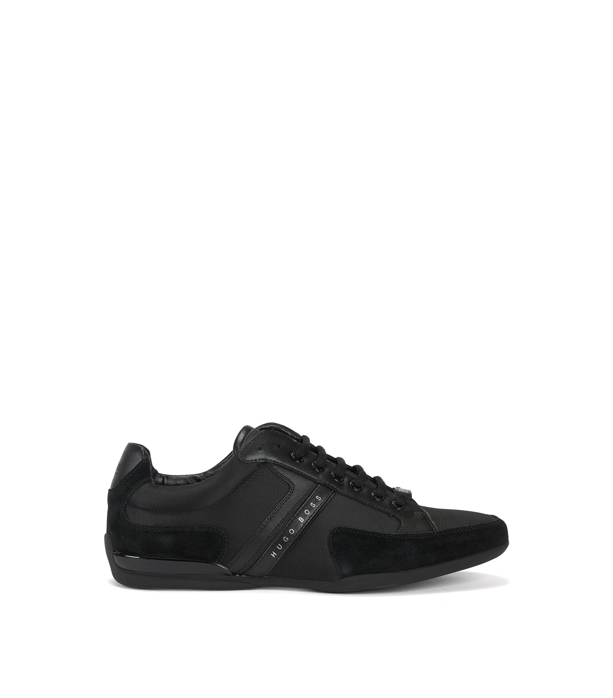 Material-mix sneakers with rubber sole , Black
