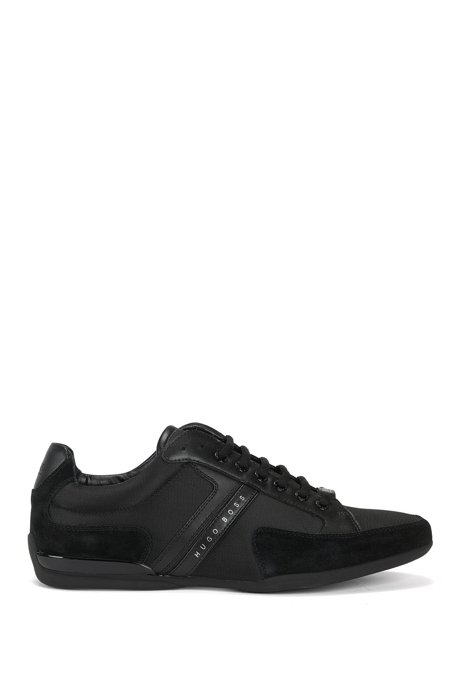 BOSS Hugo Boss Material-mix sneakers rubber sole 10 Black Clearance Sale 1DtWRsuw