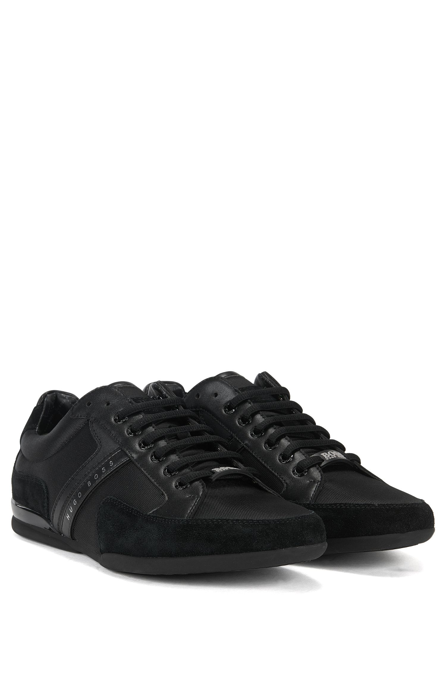 Material-mix sneakers with rubber sole, Black