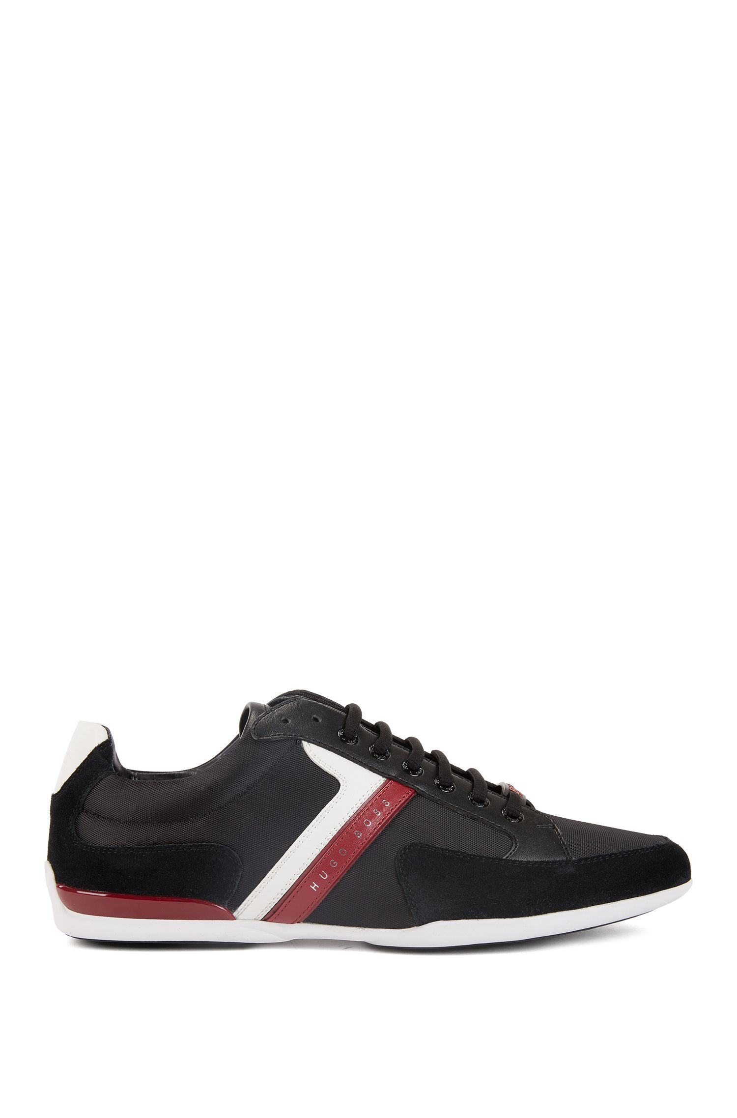 Material-mix sneakers with rubber sole, Charcoal