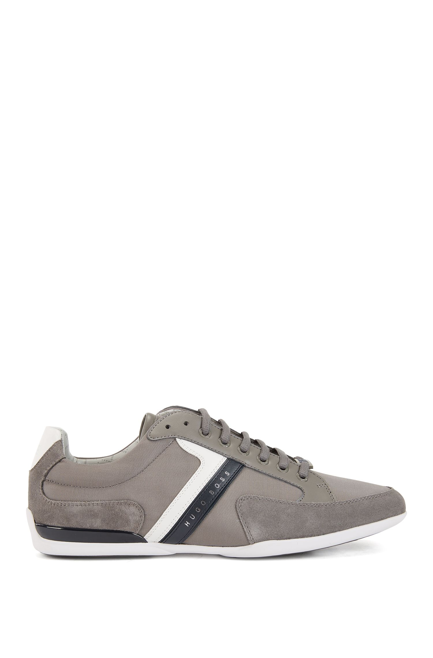 Material-mix sneakers with rubber sole, Grey