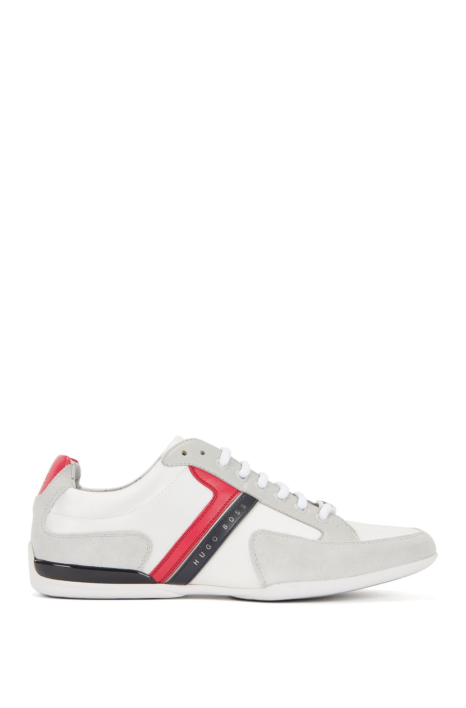 Material-mix sneakers with rubber sole, Open White