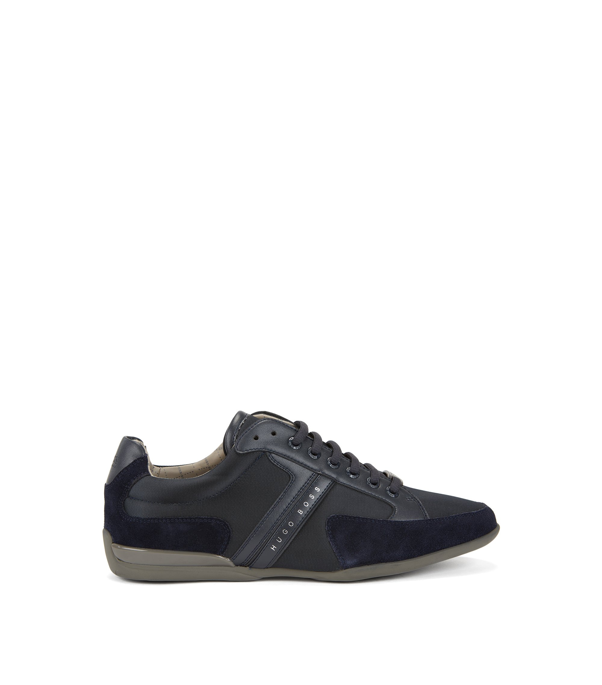 Material-mix sneakers with rubber sole , Dark Blue