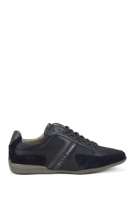Material-mix sneakers with rubber sole, Dark Blue