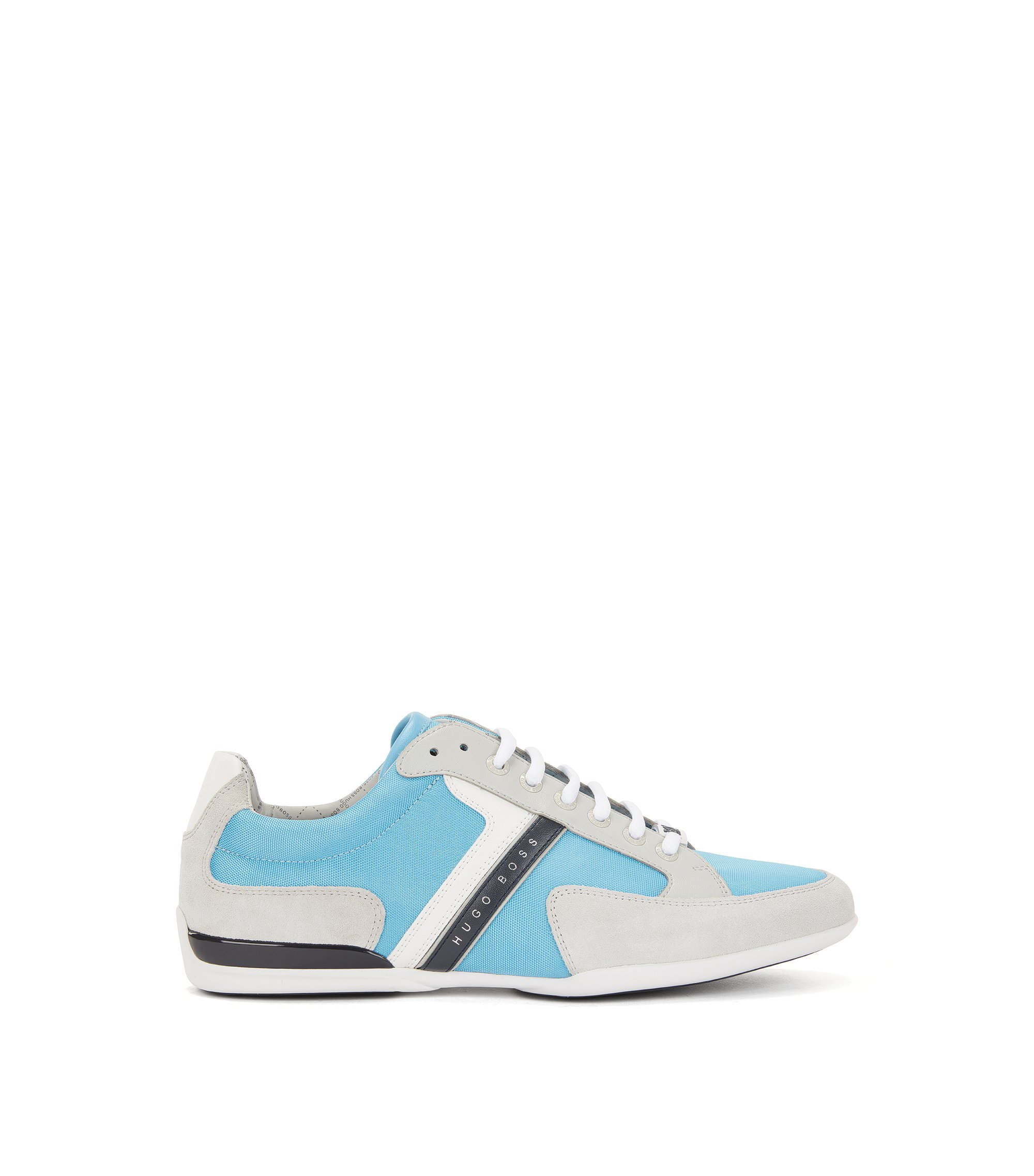 Material-mix sneakers with rubber sole , Blue