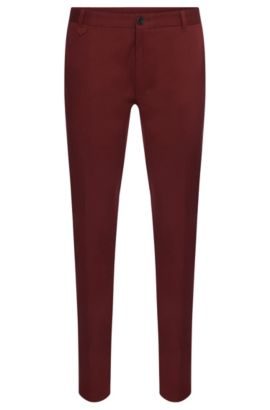 'Heldor' | Extra Slim Fit, Stretch Cotton Pants, Red