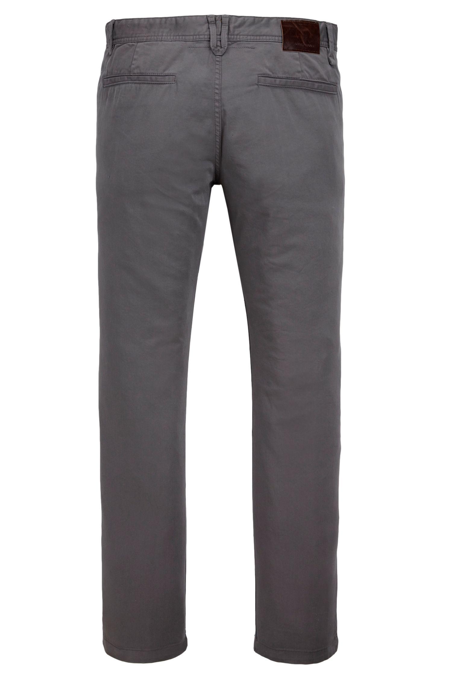 Stretch Cotton Chino Pants, Slim Fit   Schino Slim D, Dark Grey