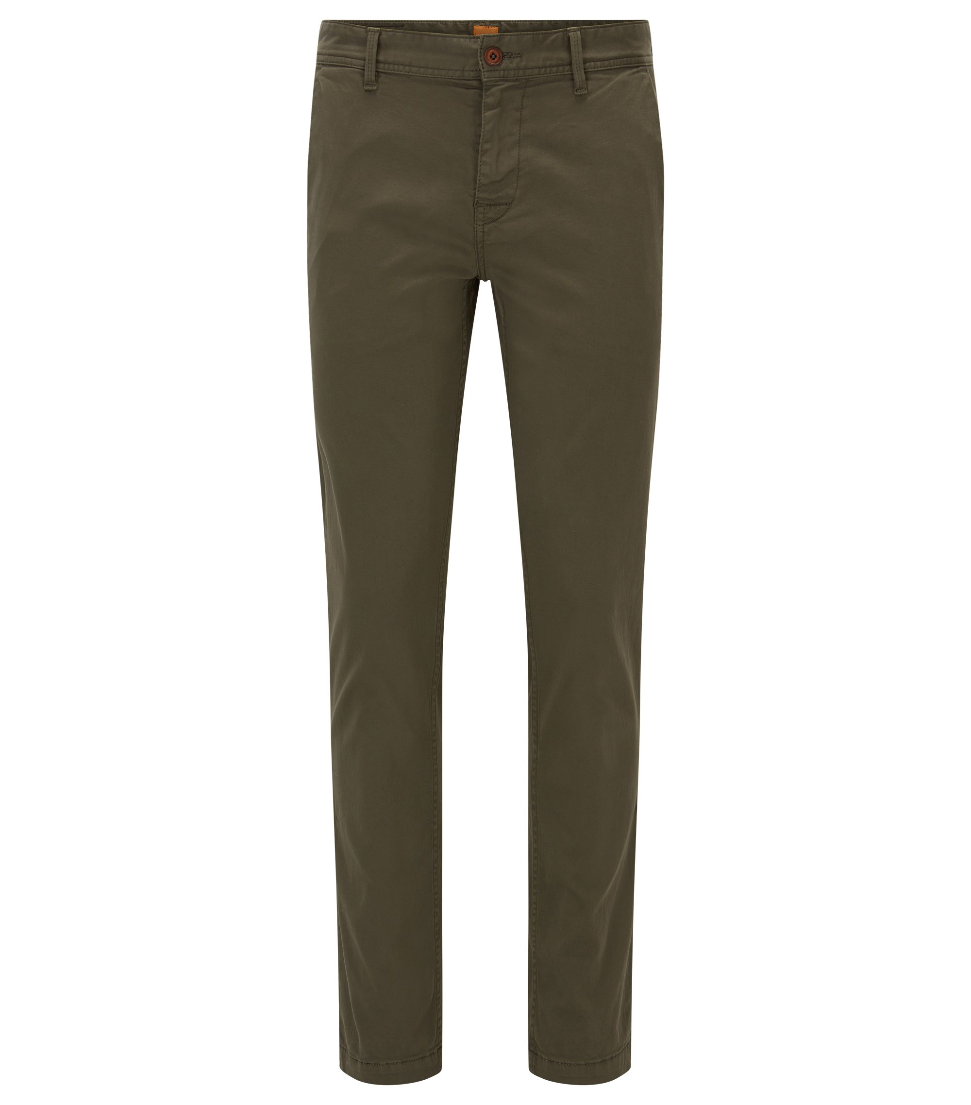Stretch Cotton Chino Pants, Slim Fit | Schino Slim D, Dark Green