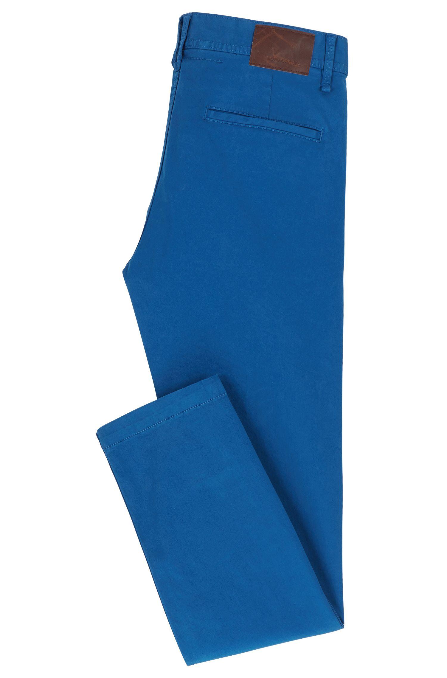 Stretch Cotton Chino Pants, Slim Fit | Schino Slim D, Blue