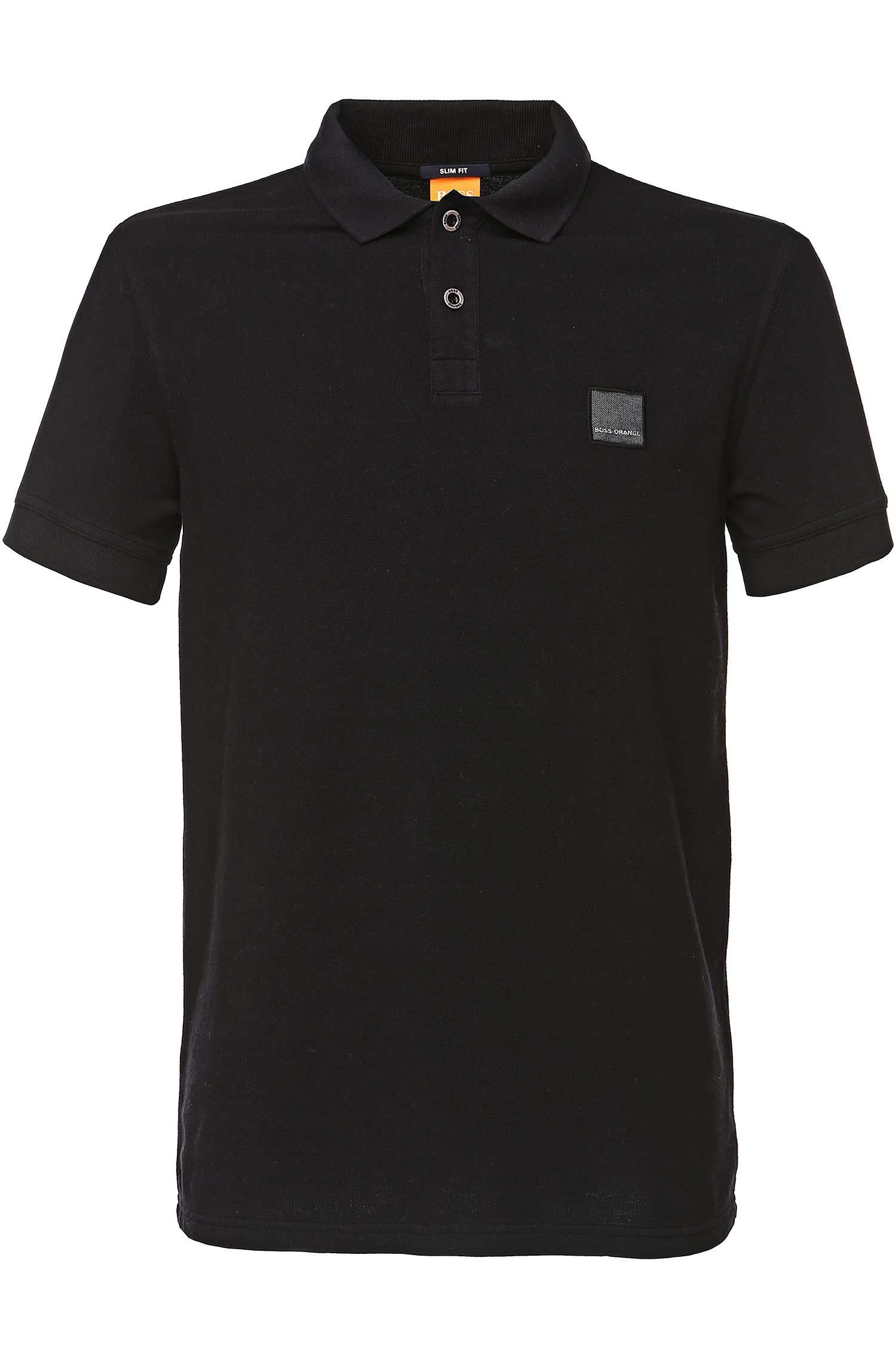 Cotton Polo Shirt, Slim Fit | Pascha, Black