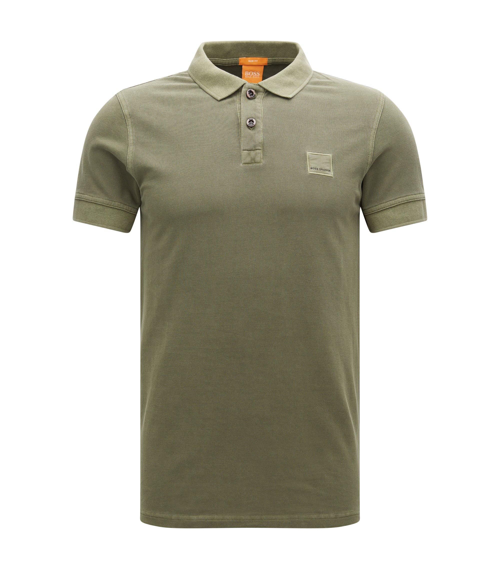 Cotton Polo Shirt, Slim Fit | Pascha, Dark Green