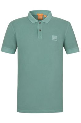 Cotton Polo Shirt, Slim Fit | Pascha, Turquoise