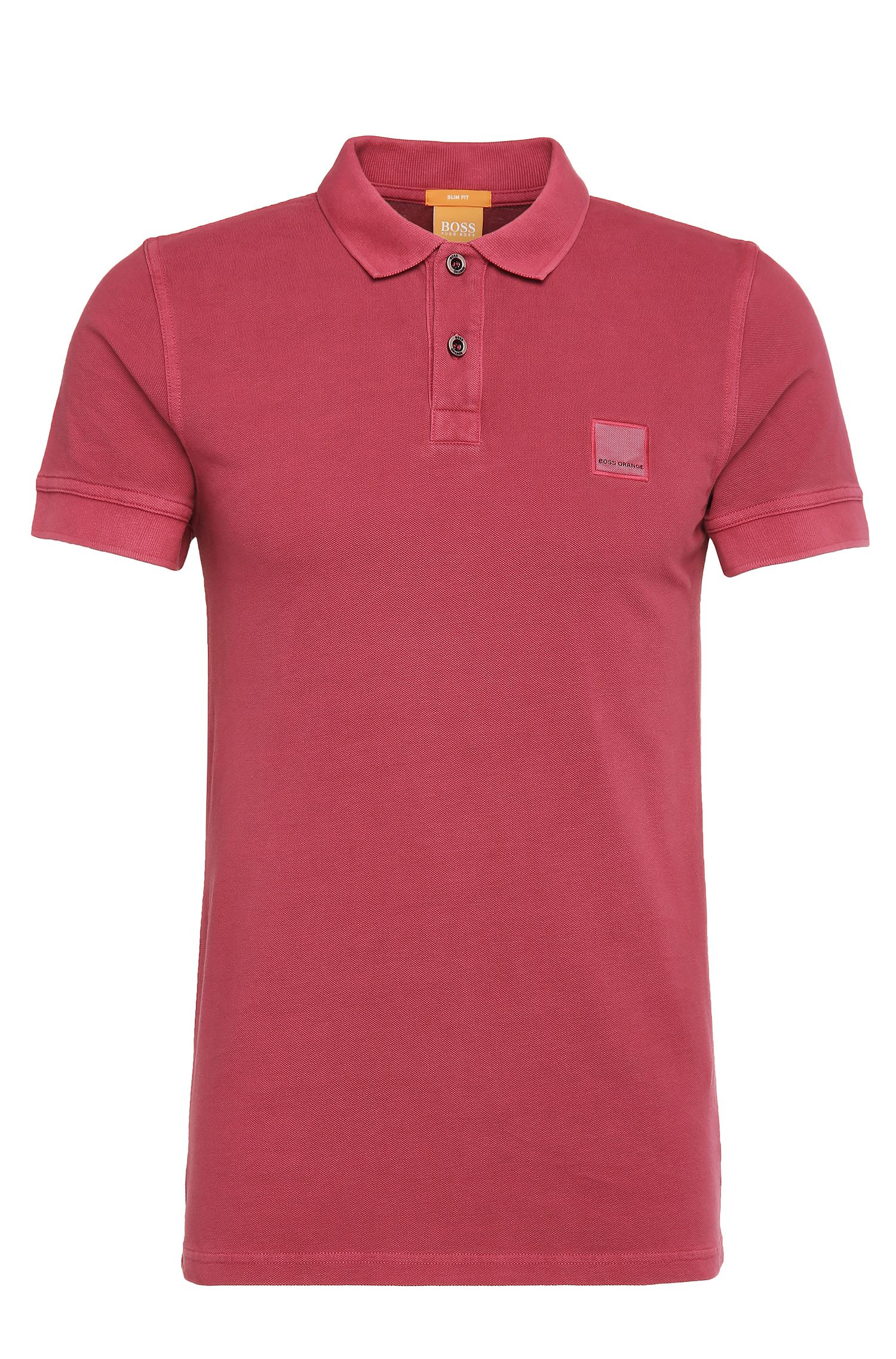 Cotton Polo Shirt, Slim Fit | Pascha, Red