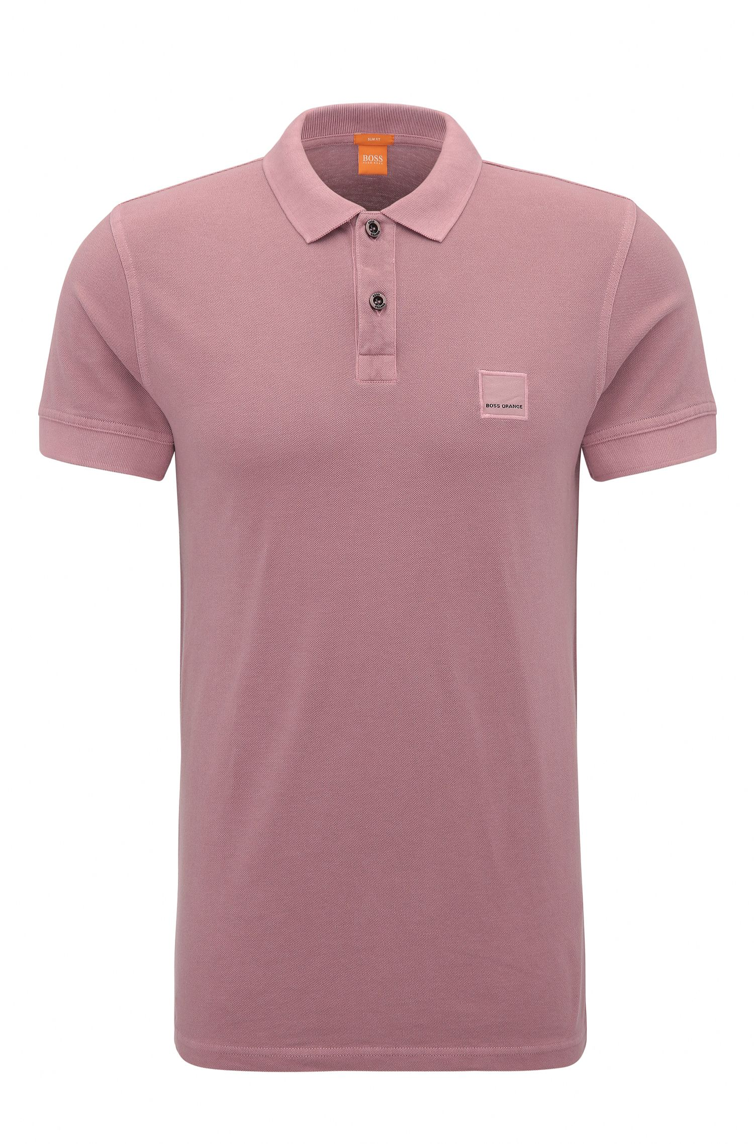 Cotton Polo Shirt, Slim Fit | Pascha, light pink