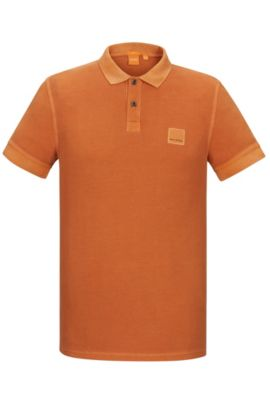 Cotton Polo Shirt, Slim Fit | Pascha, Orange