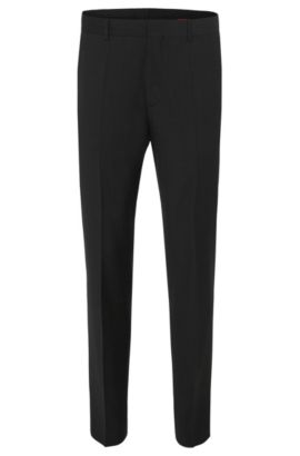 'HamenS' | Slim Fit, Virgin Wool Dress Pants  , Dark Grey