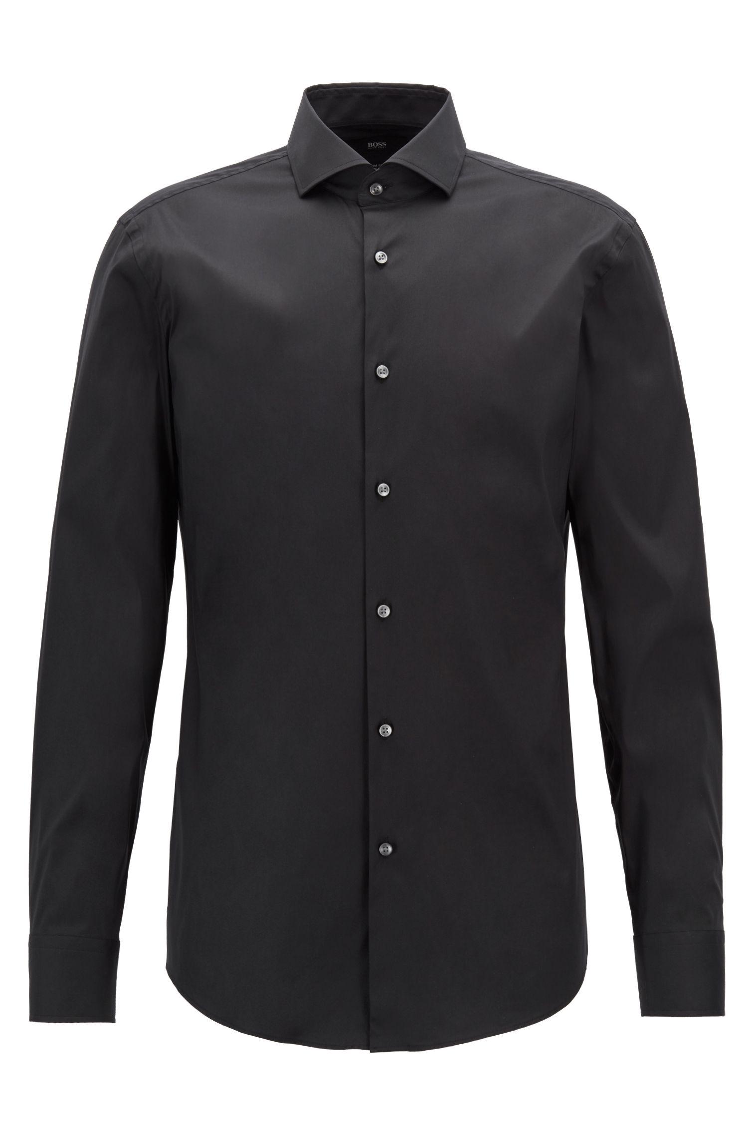 Stretch Cotton Dress Shirt with Stretch Tailoring, Slim Fit | Jason, Black