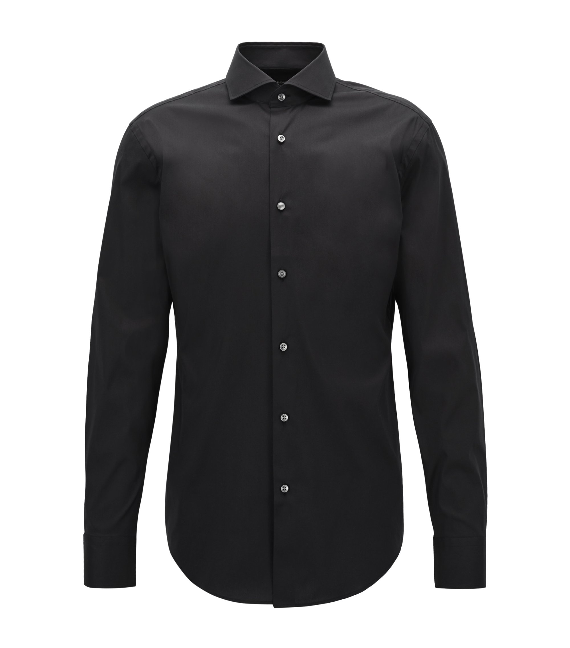 Stretch Cotton Dress Shirt with Stretch Tailoring, Slim Fit | Jason, Black