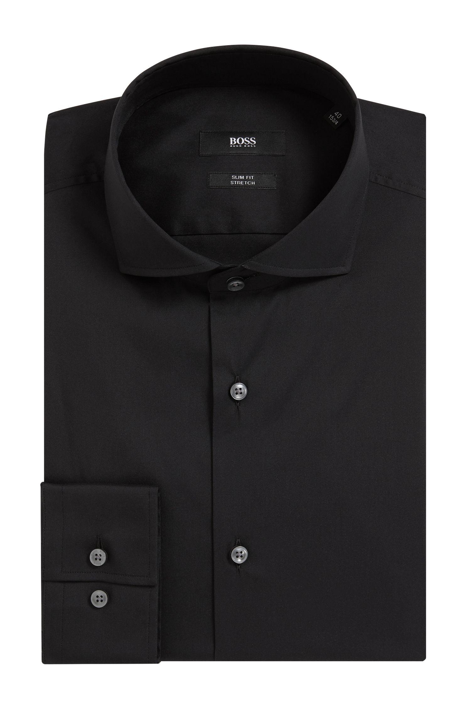 Spread Collar Stretch Cotton Dress Shirt, Slim Fit   Jason