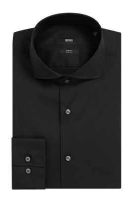 'Jason' | Slim Fit, Spread Collar Stretch Cotton Dress Shirt, Black