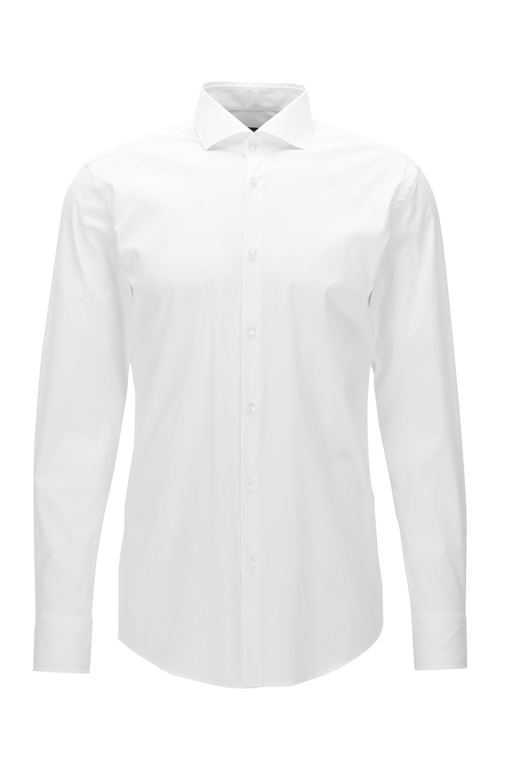 Slim-fit shirt in stretch poplin , White