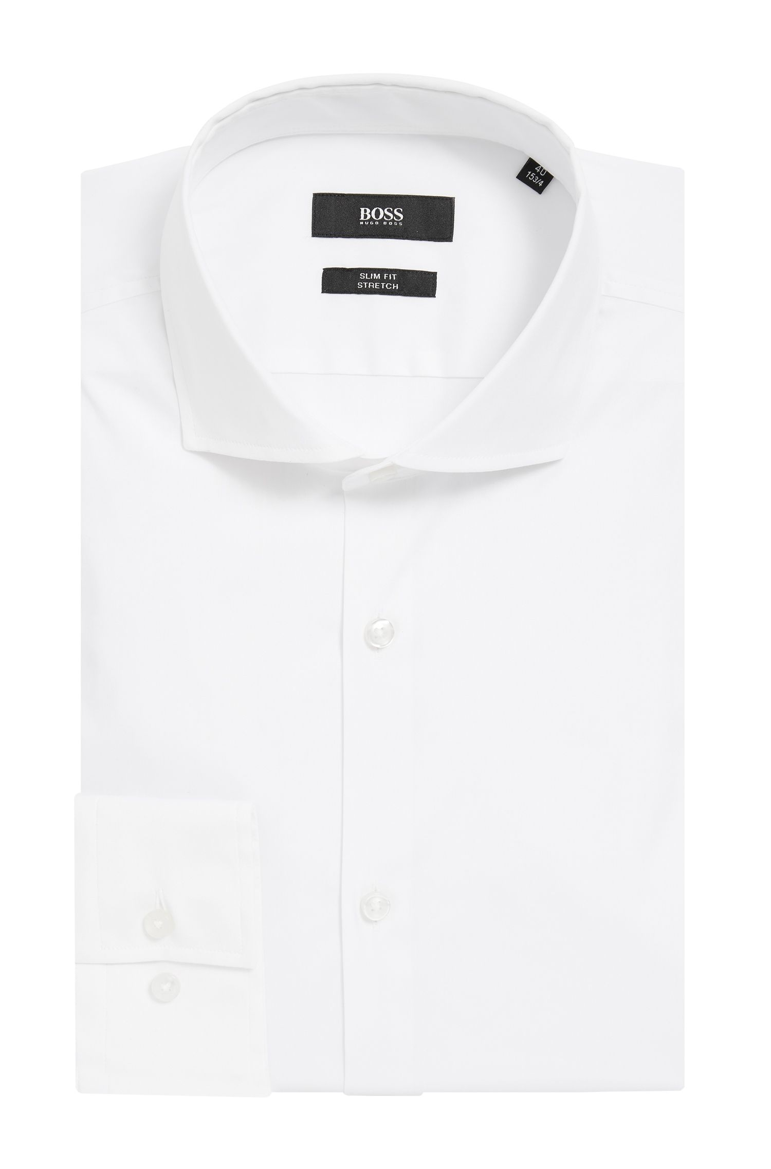 Stretch Cotton Dress Shirt with Stretch Tailoring, Slim Fit | Jason, White