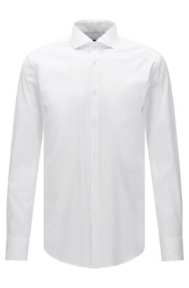 Stretch Cotton Dress Shirt, Slim Fit | Jason, White