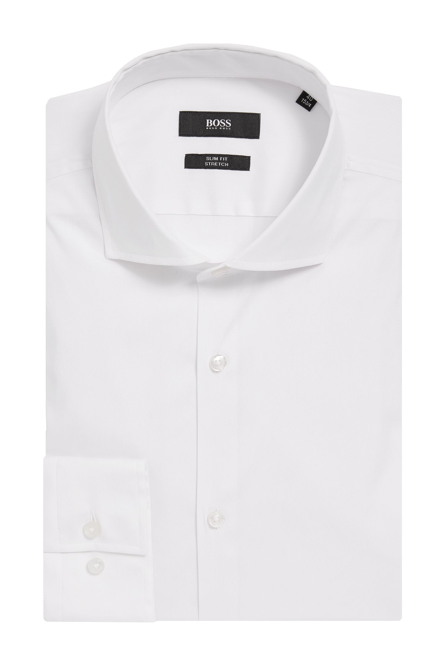 Stretch Cotton Dress Shirt with Stretch Tailoring, Slim Fit | Jason