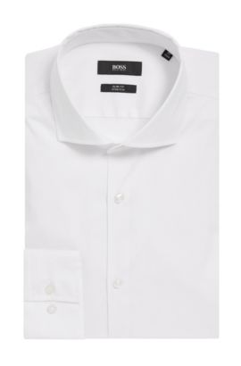 'Jason' | Slim Fit, Spread Collar Stretch Cotton Dress Shirt, White