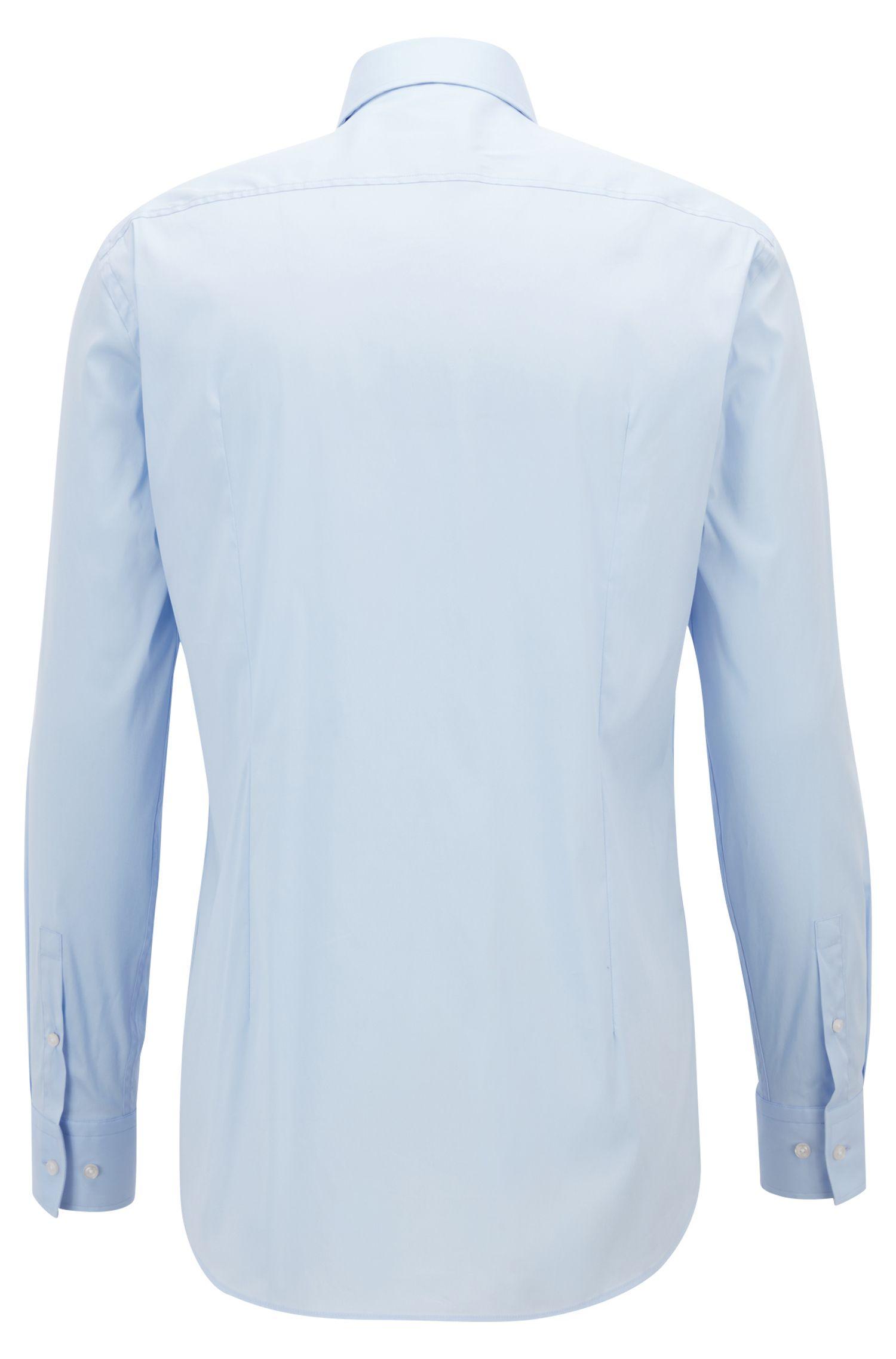 Slim-fit shirt in stretch poplin , Light Blue