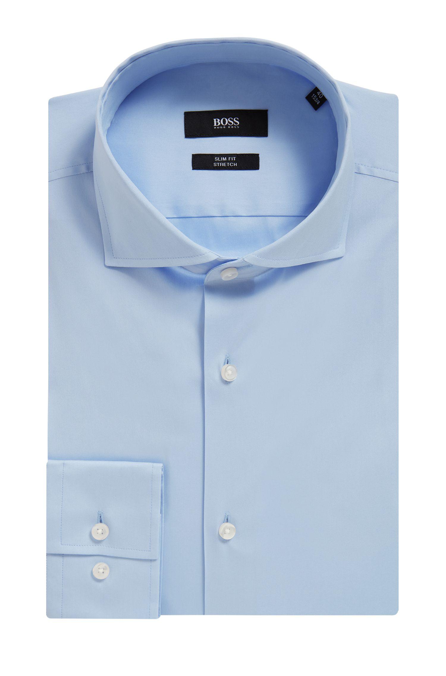 Stretch Cotton Dress Shirt with Stretch Tailoring, Slim Fit | Jason, Light Blue