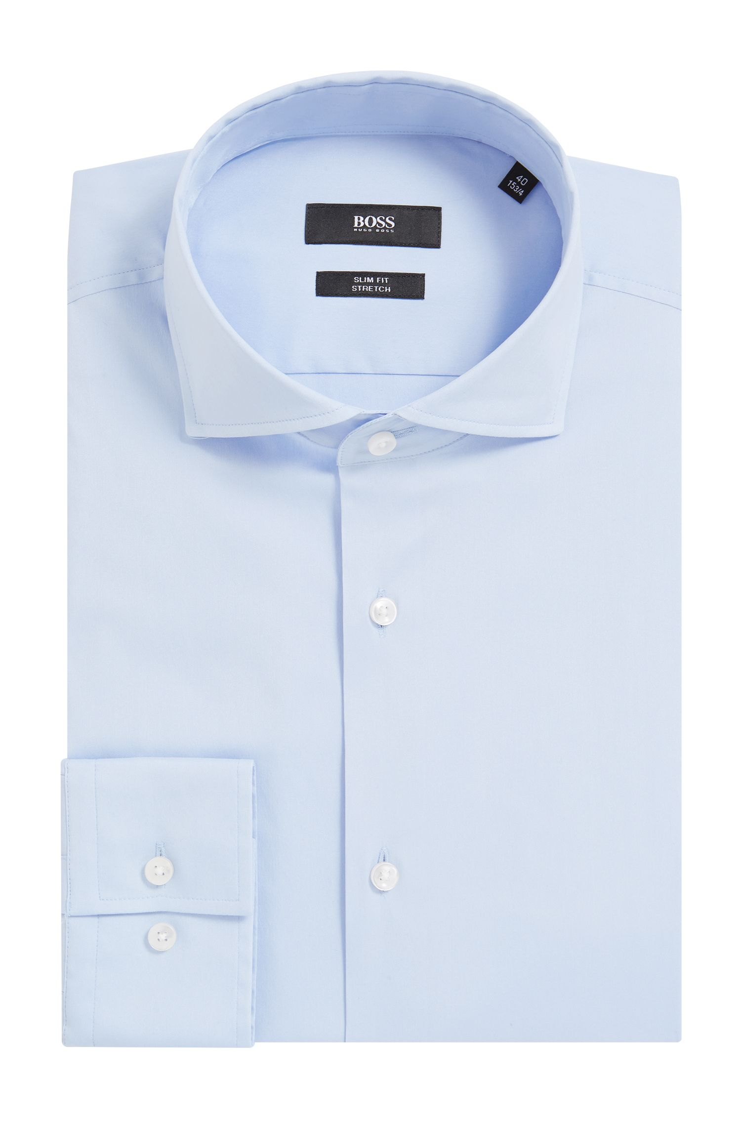 'Jason' | Slim Fit, Spread Collar Stretch Cotton Dress Shirt