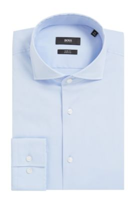 'Jason' | Slim Fit, Spread Collar Stretch Cotton Dress Shirt, Light Blue