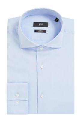 'Jason' | Slim Fit, Spread Collar Stretch Cotton Dress Shirt, Light Blue