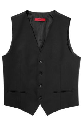 'Wel' | Slim Fit, Stretch Virgin Wool Vest, Black