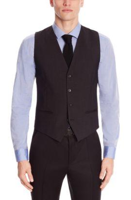 'Wel' | Slim Fit, Stretch Virgin Wool Vest, Dark Grey