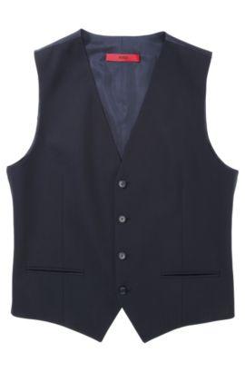 'Wel' | Slim Fit, Stretch Virgin Wool Vest, Dark Blue