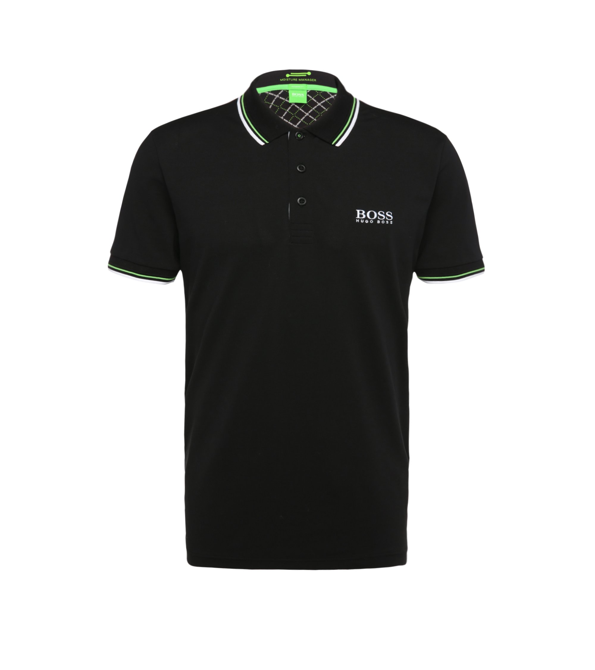 Moisture Manager Stretch Cotton Polo Shirt, Modern Fit | Paddy Pro, Black