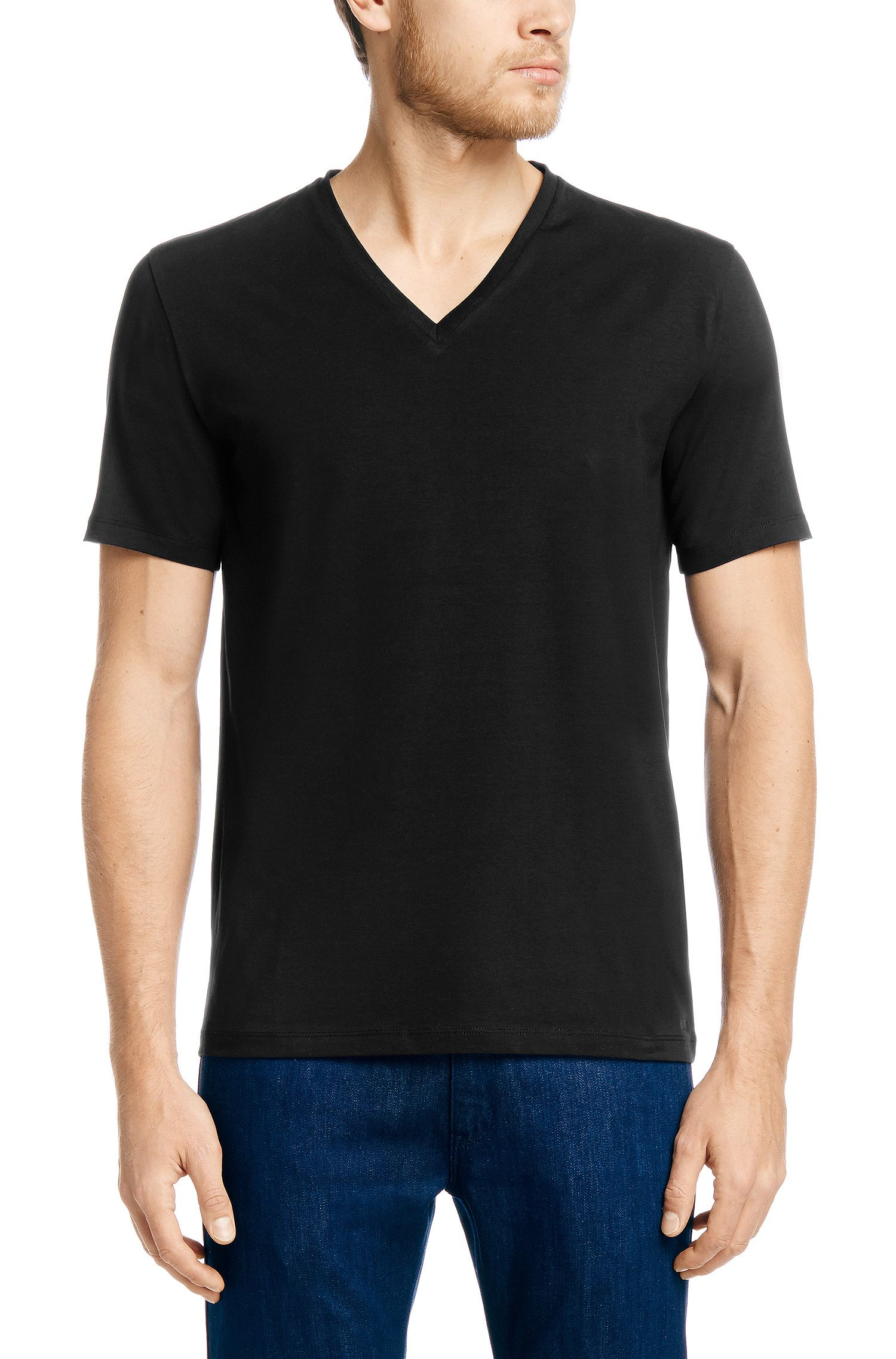Stretch Cotton V-Neck T-Shirt | Dredosos