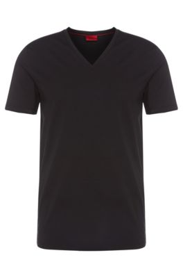 Stretch Cotton V-Neck T-Shirt | Dredosos, Black