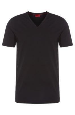 Stretch Cotton V-Neck T-Shirt | Dredosos, Black